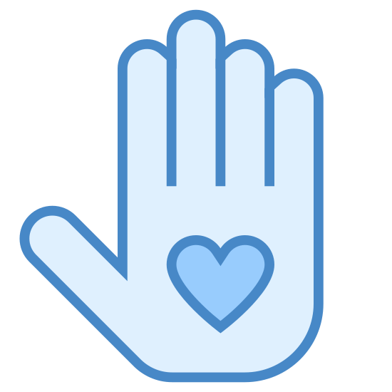 Wolontariat icon. This is a picture of a right hand with it's fingers all sticking straight up. in the palm of the hand is a heart. the thumb is kind of sticking out to the side.