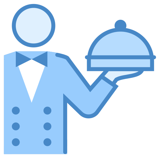 Waiter icon. This icon features a nondescript person in a uniform. They are holding in their left hand a platter. There is a large domed lid covering the top of the platter.