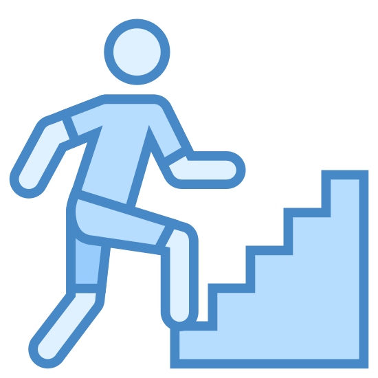 """Montée d'escaliers icon. The icon for """"wakeup hill on stairs"""" shows the outline of a man walking up stars. The stairs are shown as zig-zag lines, running from the bottom left of the image upwards to the top right. The man appears to be in motion."""