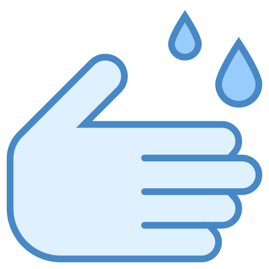 Wash Your Hands icon. This icon for Wash your hands consists of an image of two hands and two small drops of water. The hands are points to the right and appear to be rubbing one another, and above the fingers of the hand are two small droplets of water, which are teardrop shaped.