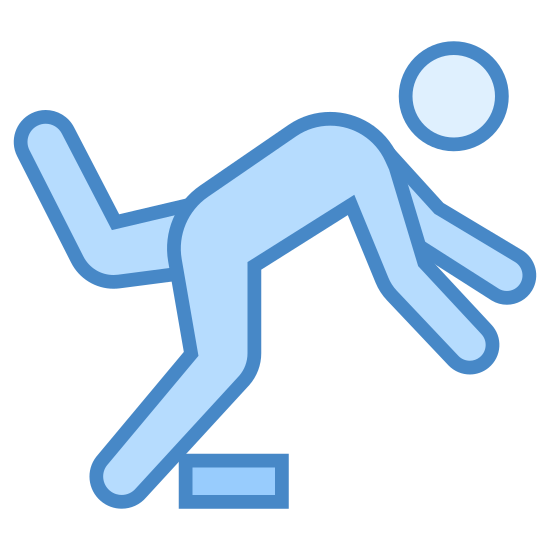 Watch Your Step icon. The image is of a person that is falling. The person is leaning forward over a plank. The person is facing left and their arms are extended. The back left leg of the person is up and pointing back behind them.