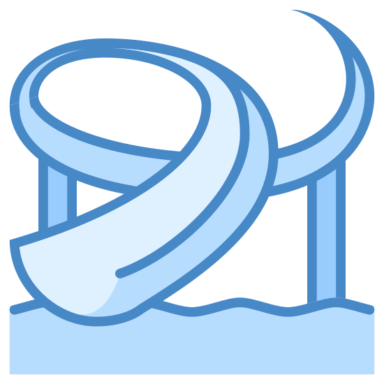 Water Park icon. It's a logo for a water park with water and a slide. There are three lines on the bottom that show the waves and a slide above that loops around and ends in the water below.
