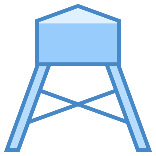 Wasserturm icon. This is a drawing of a water tower with a big bass on the top with a bit of a roof shape that comes to a point. On the bottom there are long extenders holding the tower high above the ground.