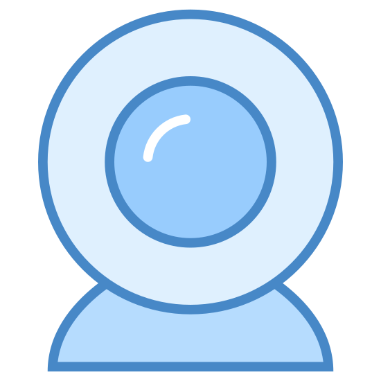 Webcam icon. This is a picture of a small webcam pointing right towards you. There is a small circle in the middle, with a larger circle around that one. It has a small base on the bottom.