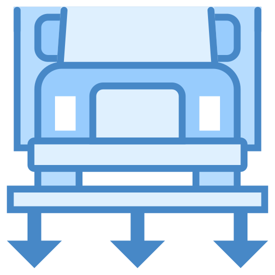 Stacja ważenia icon. This image is depicting a truck resting on top of a platform. Below the platform are three downward facing arrows as if to indicate this is a weigh station. Only the front of the truck is visible.