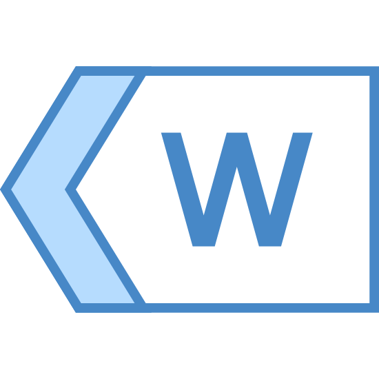 West icon. It is a logo consisting of an arrow pointing to the left.  The right side of the arrow is not filled in, just a blank space.  Inside the arrow is the capital letter W.