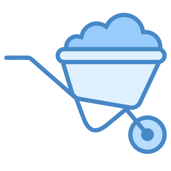 Wheelbarrow icon. The icon is a simplified depiction of a wheelbarrow. A triangular, hollow body is filled with nondescript material. A metal scaffold holding this body extends to the left to make a large handle, and to the right and bottom, to make a wheel on which the wheelbarrow is balanced when in motion.
