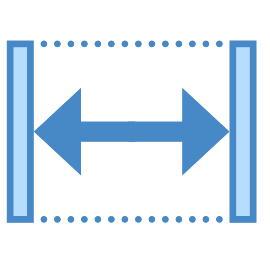Szerokość icon. The icon is comprised of two vertical lines, separated by a long expanse. Two dotted lines bridge the corners of the vertical lines, with a double-headed arrow stretching across the middle of the two lines. The icon represents the width, or horizontal distance, of an element.