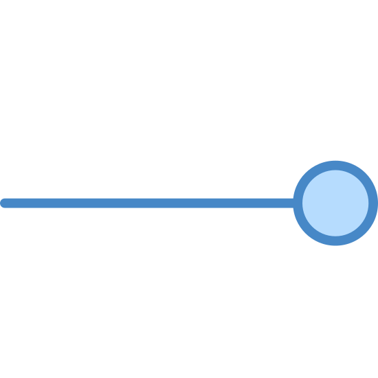 Prędkość wiatru 1-2 icon. This is an Icon of Wind Speed 1-2. It is reduced to a horizontal line attached to a circle. It pretty much looks like a lollipop being held sideways.