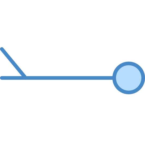 Wind Speed 3-7 icon. This icon for Wind Speed 3-7 consists of two lines and a circle. The first line runs horizontally, and has a circle attached to the right end point. The second line comes off of the left side of the main line, and points upward at a 45 degree angle to the left.