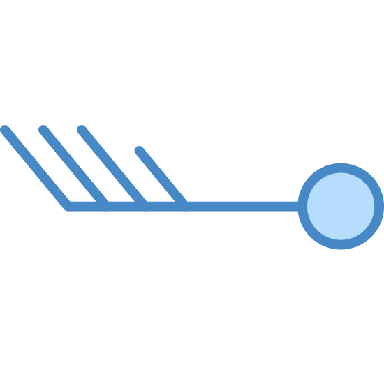 Wind Speed 33–37 icon. This icon represents a wind speed of 33-37 . There is a circle on the right with a horizontal line coming off the left side of it. There are 4 lines coming off the line diagonally 3 are the same size and 1 is much smaller.