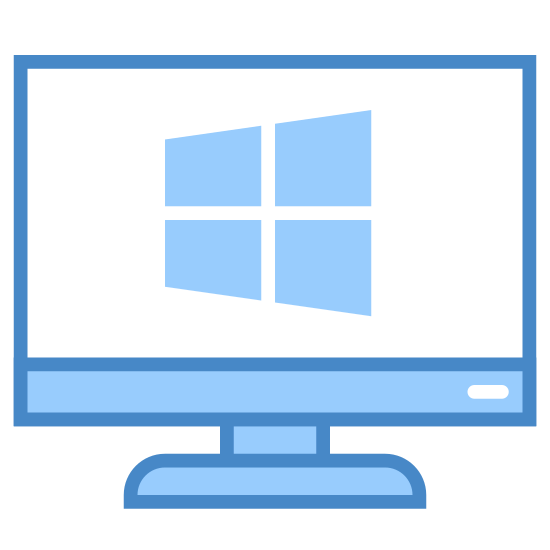 Windows Client icon. This icon looks just like a computer monitor with a Windows logo in the center of it. The monitor is represent by two squares nested inside of each other and the base is represented by a polygon. The Windows logo is in the center of the monitor and is black in color.
