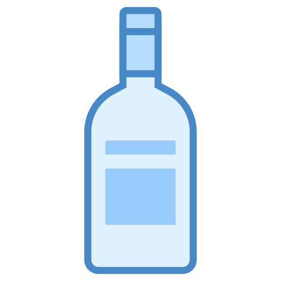 Butelka wina icon. The logo appears to be a bottle of liquor. There is no letters visible , only a place for a label but nothing is readable and there appears to be a cap or cork of some sort at the top.