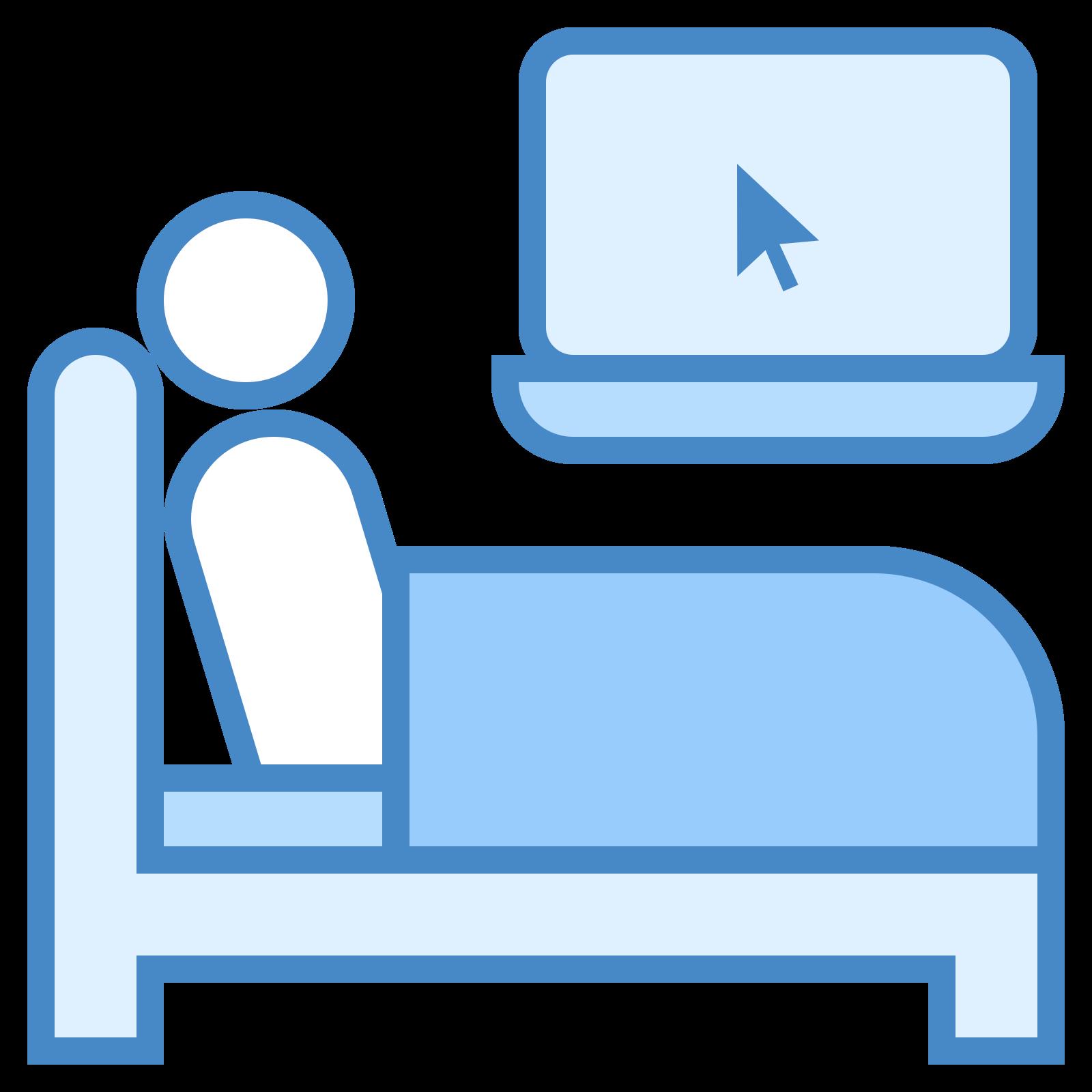 在床上工作 icon. This is a picture of a person laying in a bed with a blanket on them. they have a computer screen with an arrow in it's center right by their head. it almost seems like they are staring at it