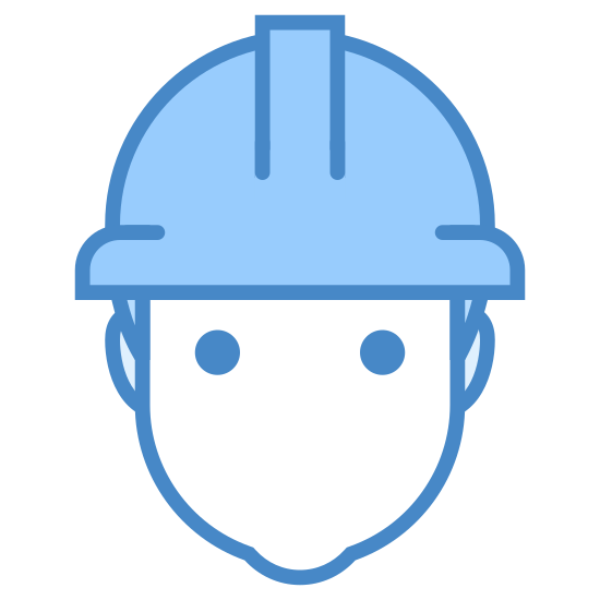 Worker icon. This is the silhouette of the head and shoulders of a male. he lacks facial features. He has a hard hat. The hard hat looks like a semi-circle, with two nubs on the left and right of the semi-circle. There is a long rectangle sticking out of the semi-circle on the front.