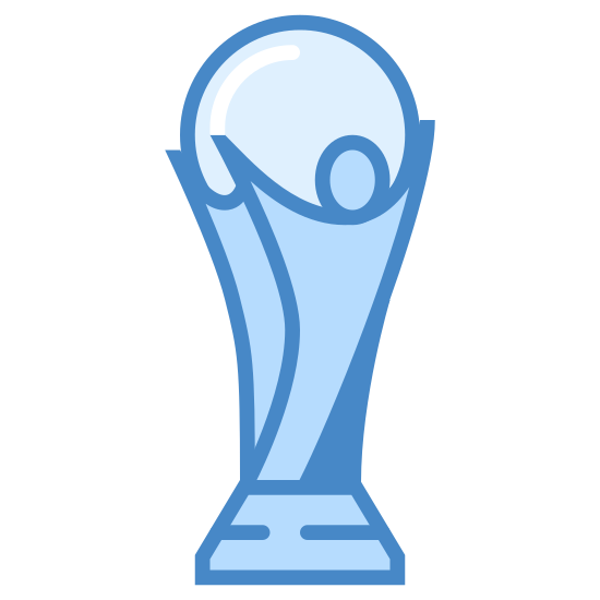 Puchar świata icon. This is an image of the world cup. It is a standing trophy. The top is made up of a spherical representation of a ball, and the base has the appearance of a human figure holding that ball over its head.
