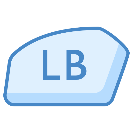 Xbox Lb icon. There is a shape that is soft and only really appears to have 5 angles although it is not very sharp angles in side of it, it has the letters L and B.