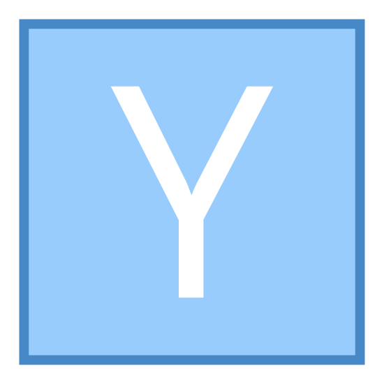 Współrzędna Y icon. It's a small letter y by itself placed in the center of a square. The square has slightly rounded corners. There is only white space between the y and the square.