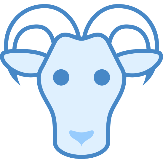Year of Goat icon. This is an animal with two curved horns that jut from the sides of his head with ears underneath. This face is elongated into a muzzle. This goat icon represents the Chinese Year of the Goat and falls under the category of an animal.