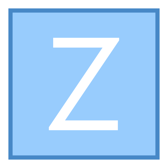 Z Coordinate icon. This seems like a Logo but looks more like a keyboard button. It has the a square with the letter Z in the middle. This icon can be similar to the icon or logo of that of a social media icon. But similarly to the keyboard tabs.