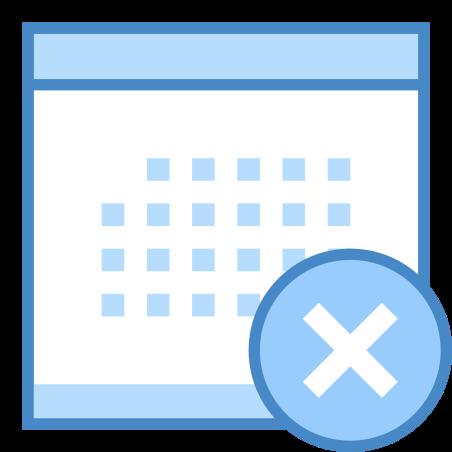 Calendar Delete icon in Blue UI