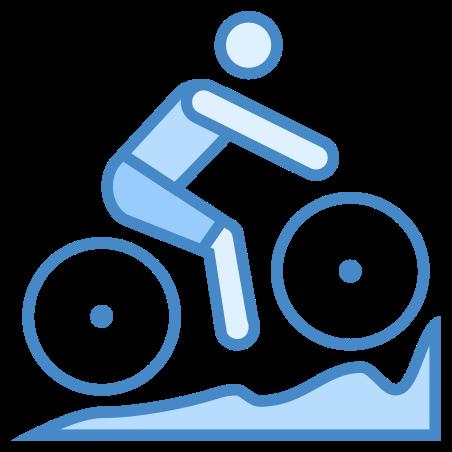 자전거 산악 자전거 icon in 파란색 UI