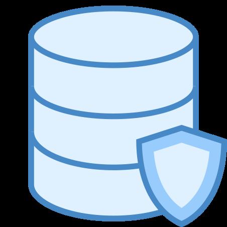 데이터 보호 icon in 파란색 UI