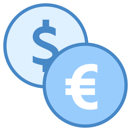 Dollar Euro Exchange icon in Blue UI
