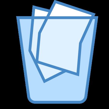 Full Trash icon in Blue UI