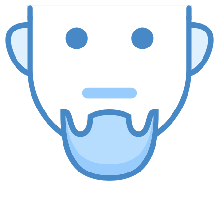 수염 icon in 파란색 UI
