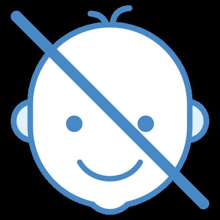 어린이의 손이 닿지 않는 곳에 보관하십시오 icon in 파란색 UI
