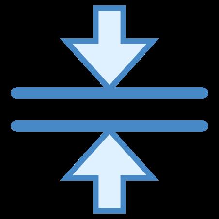 수평 병합 icon in 파란색 UI