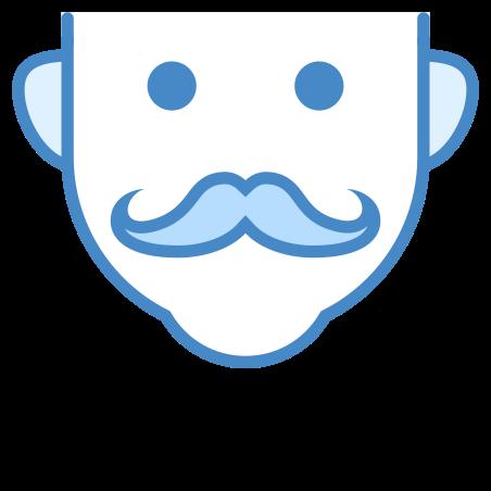 콧수염 icon in 파란색 UI