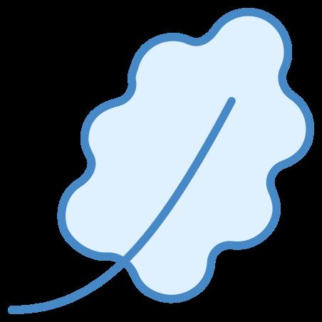 참나무 잎 icon in 파란색 UI