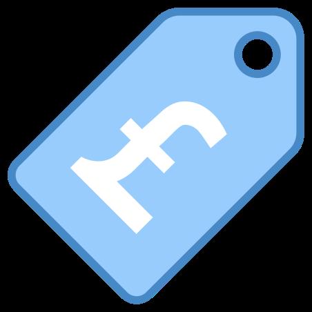가격 태그 파운드 icon in 파란색 UI