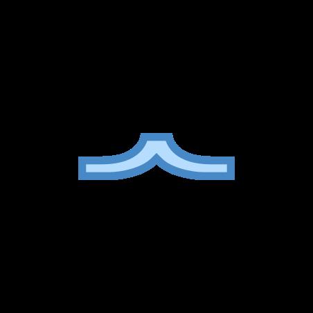 피라미드 콧수염 icon in 파란색 UI