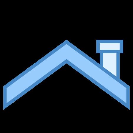 지붕 이기 icon in 파란색 UI