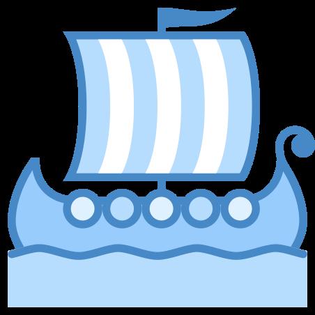바이킹 선박 icon in 파란색 UI