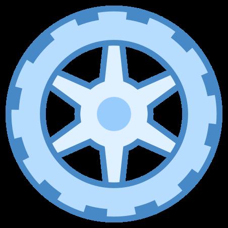 Wheel icon in Blue UI