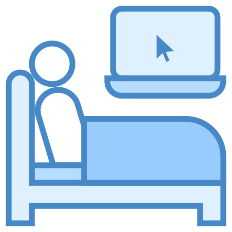 Work in Bed icon in Blue UI