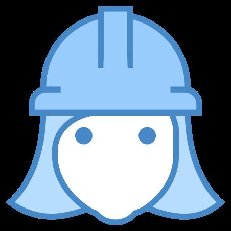 Female Worker icon in Blue UI