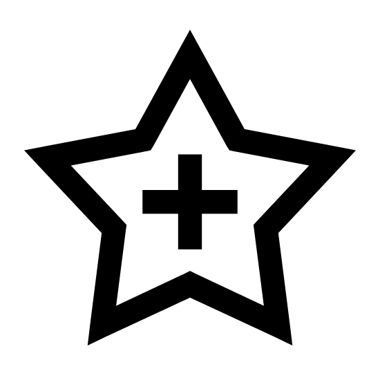 """Add to Favorites icon. There is a """"plus"""" sign which is like a cross, but the sides are even, centered inside a five pointed star with all sides that are equal. Both are outlined in black. The star is """"hollow"""" otherwise"""" in that there is empty space surrounding the icon. Everything is straight (there are no curved lines)."""