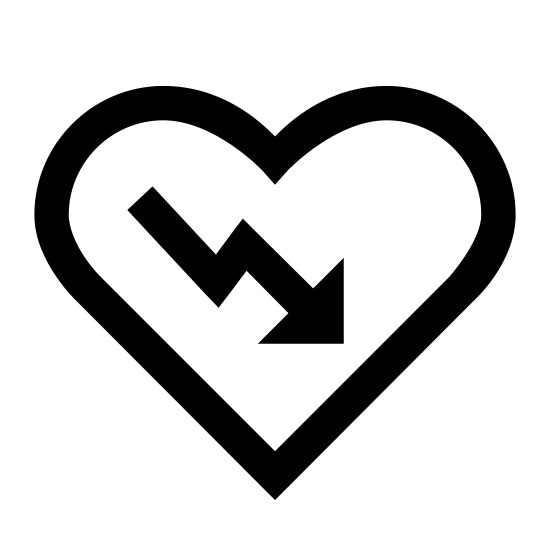 AED icon. The icon is in the shape of a cartoon heart with a lighting figure directly in the middle of the heart. The lightning figure is  line that goes down, goes to the right, and goes down again in a slant to the left.
