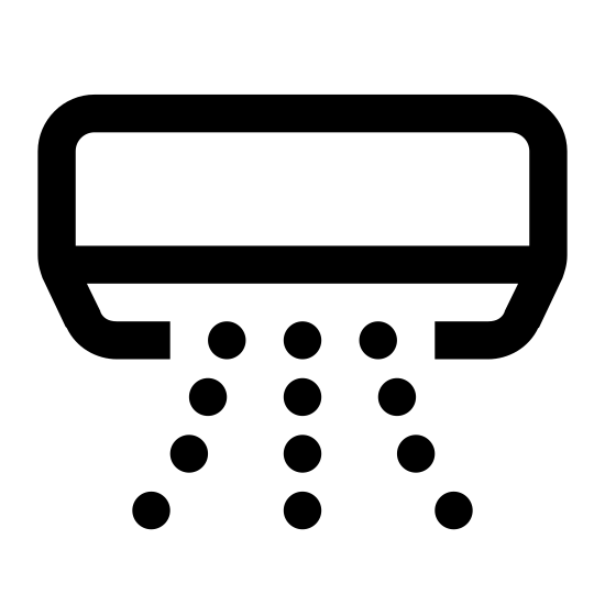 Climatisation icon. There is a rectangle shape with a bottom face visible. On the front face near the upper left side theres a snowflake, and coming out of the bottom face are several dots that resemble air flow.