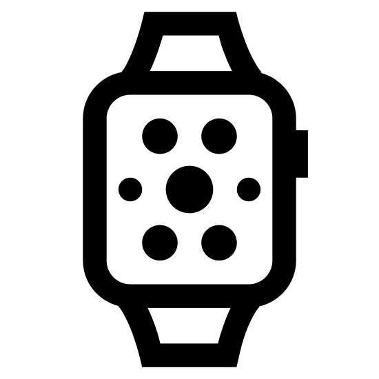Smart Watch icon. The icon is shaped like a vertical rectangle with 7 circles and 2 dots inside it that slightly form a circle shape with the biggest circle at the center. At the top and bottom are two rectangle shapes that slightly slant outwards which connect to the main rectangle shape.