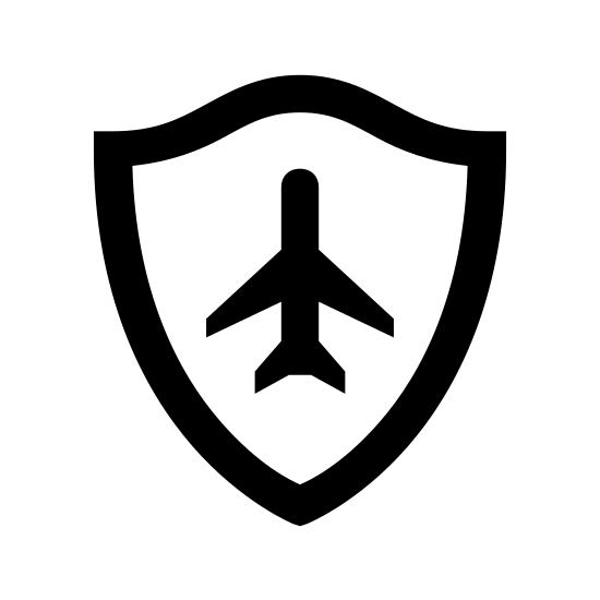 Autopilot icon. This can be described as an aeroplane which is pointed towards north or upwards placed inside the shield icon.