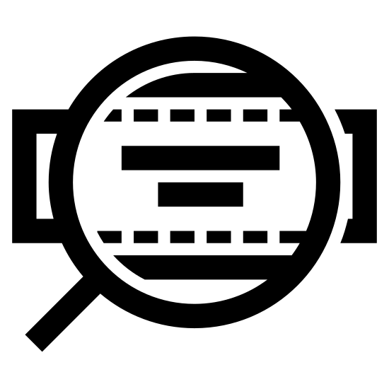 Марка сумки icon. The image is a rectangle with a magnifying glass in front of it making the magnified part bigger. On the rectangle, there are two horizontal lines on top of each other. The line on the top is longer than the one underneath.