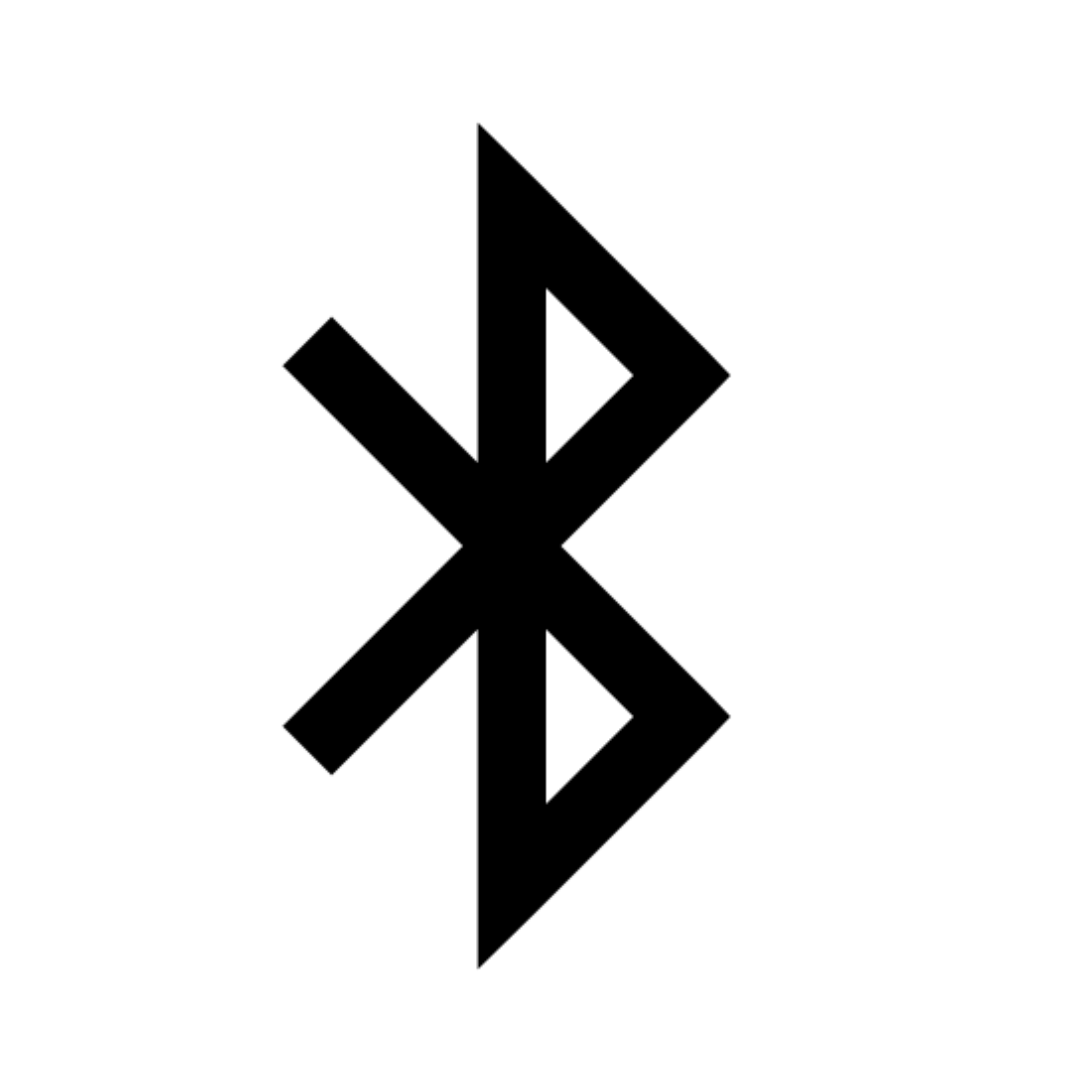 蓝牙 icon. The icon is the Bluetooth company logo. The symbol is a combination of the old norse letters for 'B' and 'H' overlapping to form the symbol. The most prominent feature of the logo is the 'B' which resembles the standard English letter 'B' but is more acute and jagged.