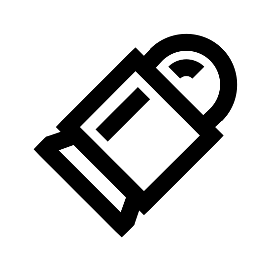 Kula icon. This is a picture of a bullet that is shaped squarely in the middle, with a circular top and a flat bottom. the square center has a line on it, while the rounded top has a rounded line.