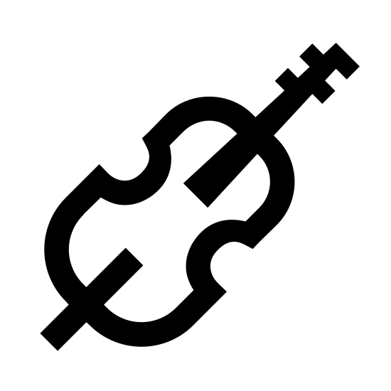 Wiolonczela icon. The icon is a picture of the musical instrument, Cello. The icon is at an angle, with the string tuner at the upper right. The base of the object is located at the bottom left. There are no visible strings on the icon, even though the actual instrument has them.